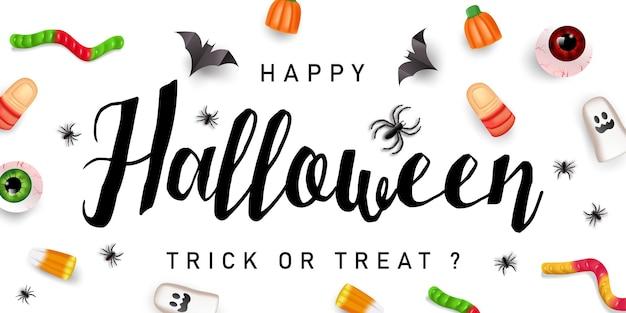 Bannière de texte happy halloween avec des araignées et des chauves-souris, vecteur