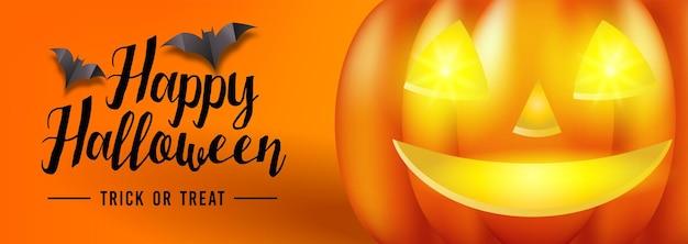 Bannière de texte happy halloween avec des chauves-souris et une lanterne jack o souriante, vecteur
