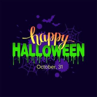 Bannière de texte joyeux halloween avec toile d'araignée et chauves-souris