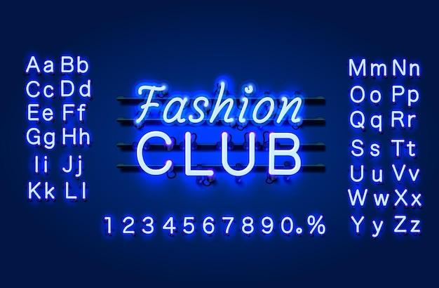 Bannière de texte neon fashion club