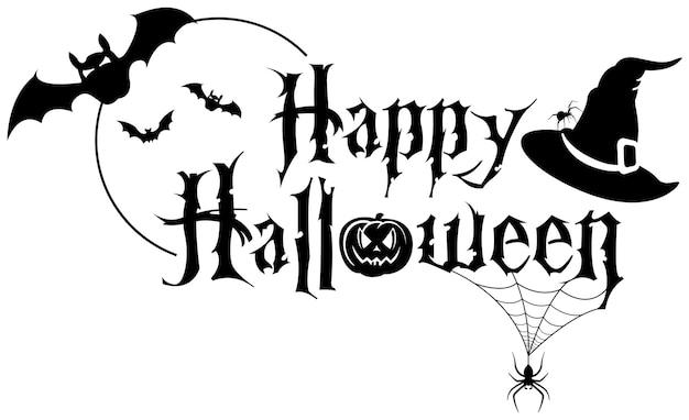 Bannière de texte noir happy halloween avec araignée et bains et chapeau de sorcière