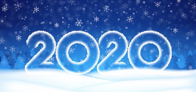 Bannière de texte numéro 2020 nouvel an, ciel d'hiver avec fond bleu neige de flocons de neige.