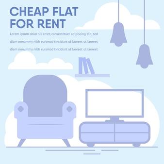 Bannière de texte publicitaire offre un appartement bon marché à louer