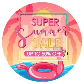 Bannière de texte super summer sale avec fond de plage rose