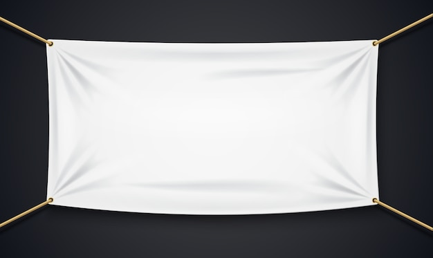 Bannière textile avec une corde isolée sur fond noir