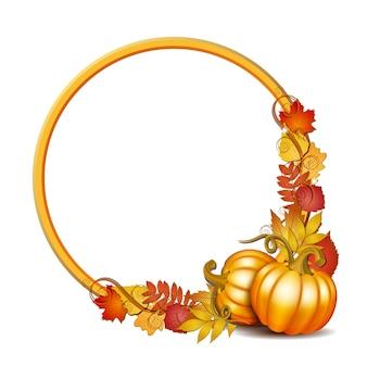 Bannière de thanksgiving, cadre rond blanc avec des citrouilles orange et des feuilles d'érable automnales. affiche ou brochure pour la fête de thanksgiving. illustration.
