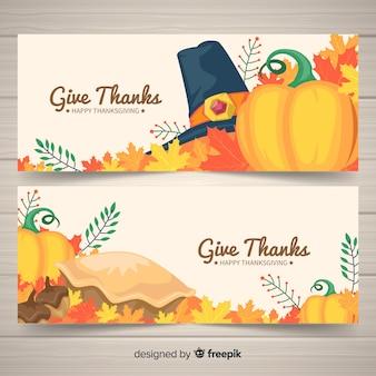 Bannière de thanksgiving avec citrouilles