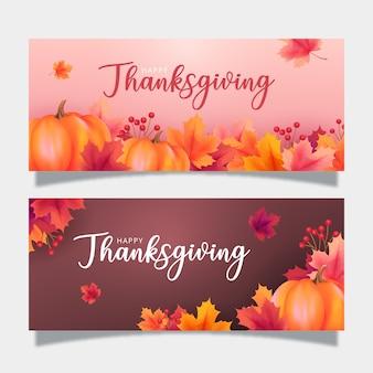 Bannière de thanksgiving de conception réaliste