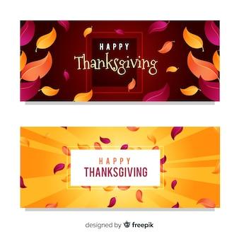 Bannière de thanksgiving sertie d'éléments de l'automne
