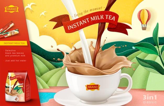 Bannière de thé au lait instantané sur champ en terrasses d'art papier dans un style 3d