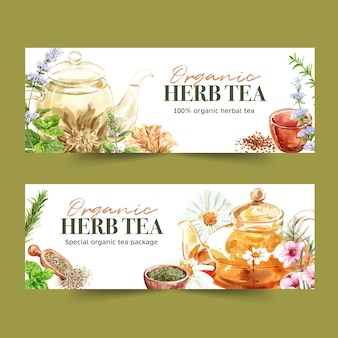 Bannière de thé aux herbes avec basilic, sarriette, menthe poivrée, illustration aquarelle de romarin.