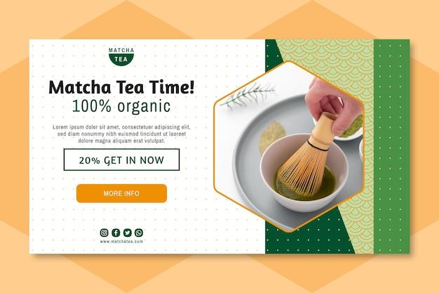 Bannière de thé matcha