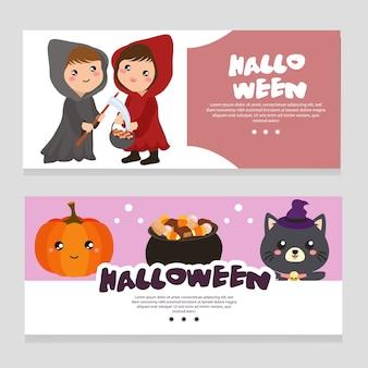 Bannière thème halloween avec costume capuche rouge