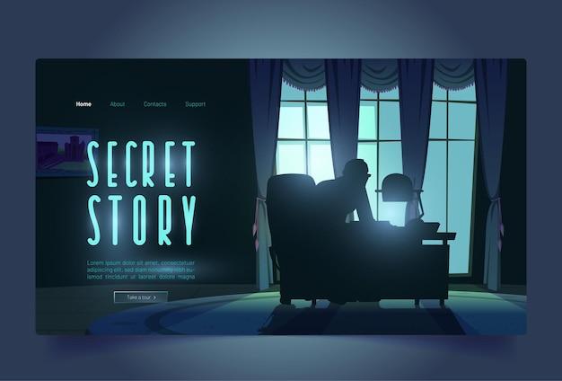 Bannière de tour d'histoire secrète avec espion dans le bureau de nuit