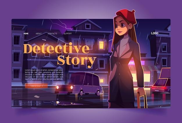 Bannière de tournée d'histoires policières avec détective femme