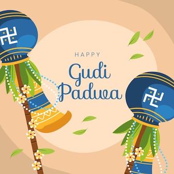Bannière traditionnelle joyeux gudi padwa