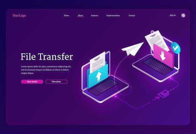 Bannière de transfert de fichiers échanger des données et des documents entre les archives numériques et la base de données des ordinateurs