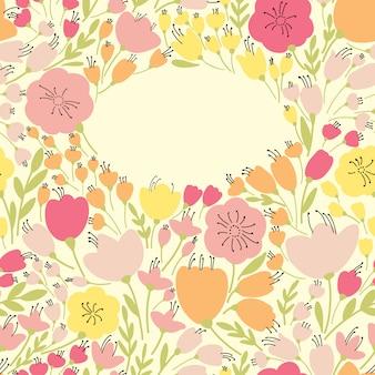 Bannière transparente élégante avec des fleurs jaunes et roses, illustration
