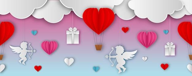 Bannière transparente saint-valentin avec nuages de papier, cupidon, coffrets cadeaux et coeurs