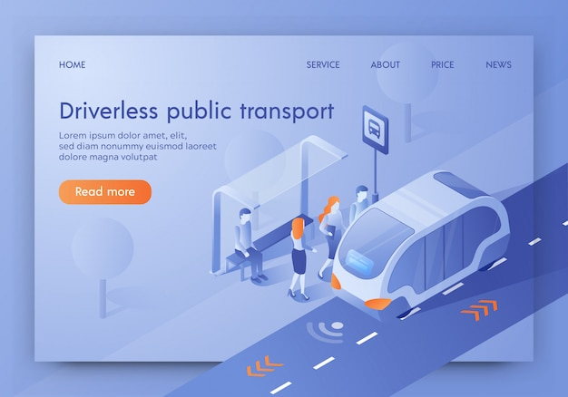 Bannière de transport en commun sans conducteur, autobus non surveillé