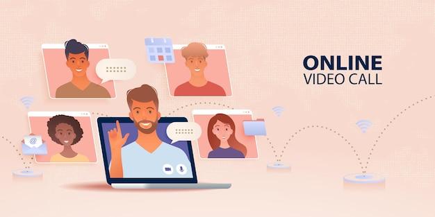 Bannière de travail et d'apprentissage n'importe où avec l'utilisation d'un ordinateur portable se connectant avec des personnes