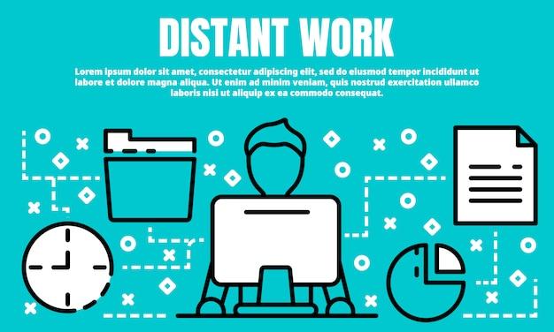 Bannière de travail à distance, style de contour