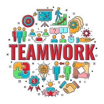 Bannière de travail d'équipe ou de collaboration avec l'équipe d'icônes de ligne colorée, l'objectif, l'inspiration et la carrière. typographie infographie concept travail d'équipe. illustration vectorielle isolée