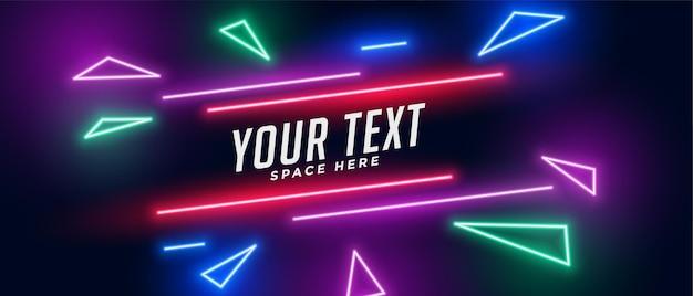 Bannière triangle néon avec espace de texte
