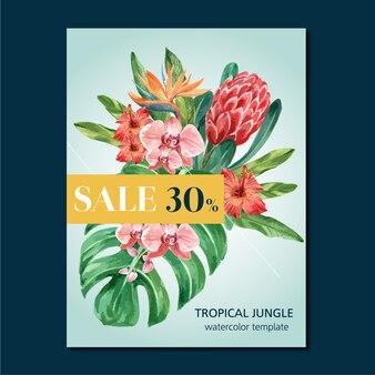 Bannière tropicale design été avec feuillage de plantes exotiques