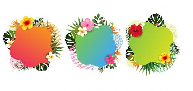 Bannière tropicale avec des feuilles et des fleurs tropicales