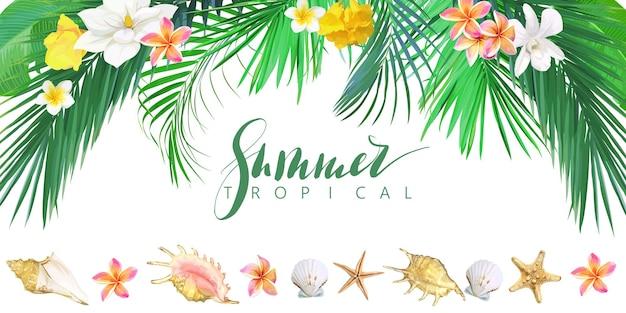 Bannière tropicale avec fleurs et coquillages. modèle vectoriel.