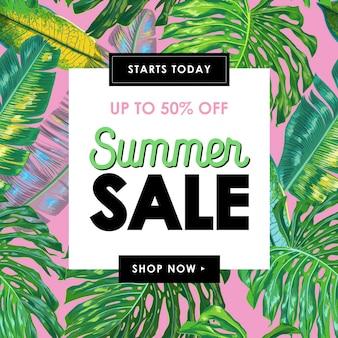 Bannière tropicale de vente d'été avec des feuilles de palmier