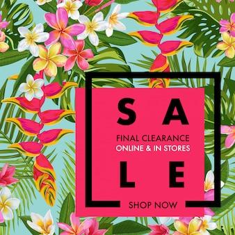 Bannière tropicale de vente d'été avec des fleurs