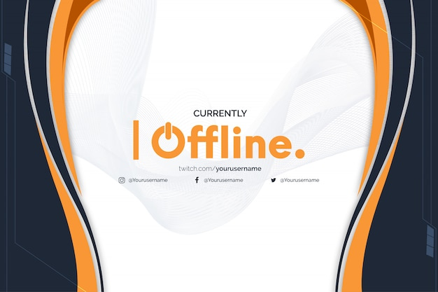 Bannière twitch actuellement hors ligne avec des formes abstraites orange