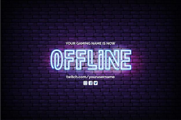 Bannière twitch actuellement hors ligne avec neon design