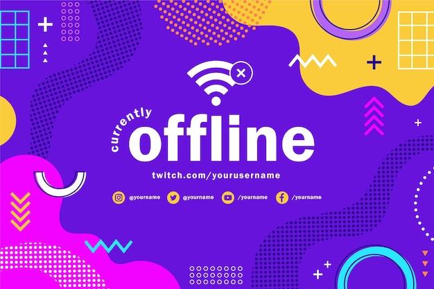 Bannière twitch hors ligne memphis avec des formes colorées