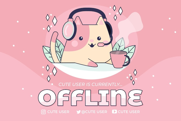 Bannière de twitch hors ligne mignon avec chat