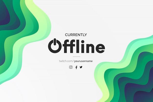 Bannière twitch moderne actuellement hors ligne avec design papercut