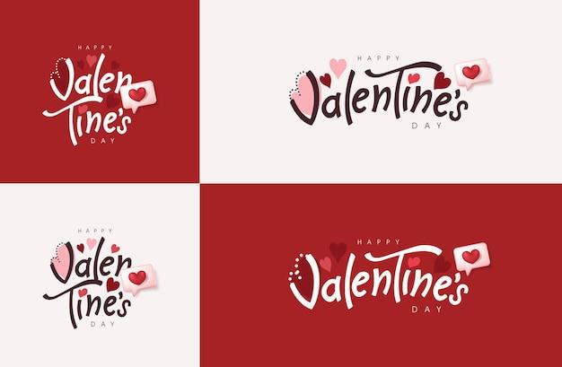 Bannière de typographie happy valentine's day