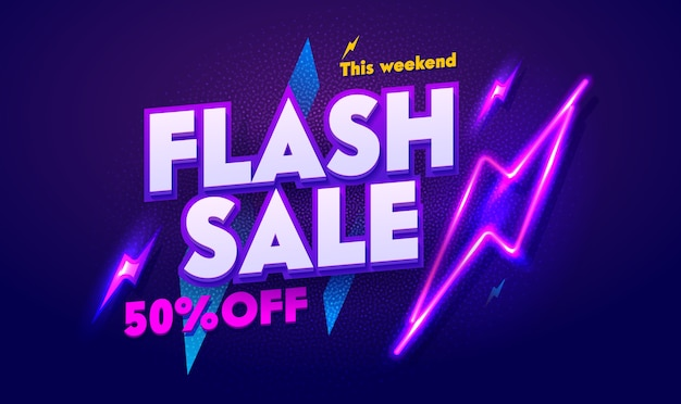 Bannière de typographie de lumière au néon de vente flash. remise panneau d'affichage électrique lueur de publicité de nuit