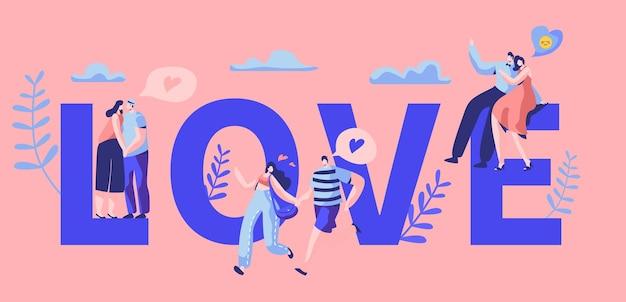 Bannière de typographie de motivation de personnage de couple histoire d'amour.