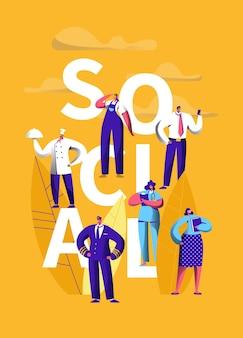 Bannière de typographie d'occupation des médias sociaux.