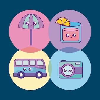 Bannière de vacances d'été définie des icônes