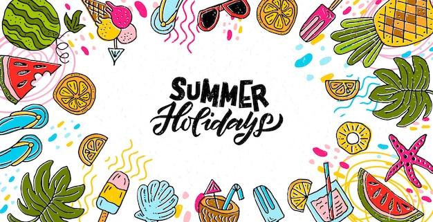 Bannière de vacances d'été esquissée à la main crème glacée soleil plage mer pastèque cocktail concept logo
