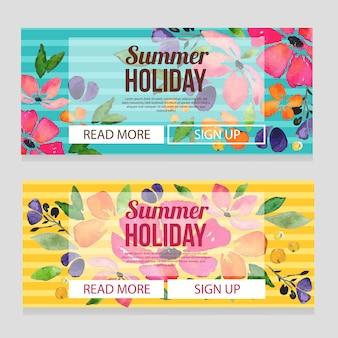 Bannière de vacances d'été mignon avec illustration aquarelle plumeria