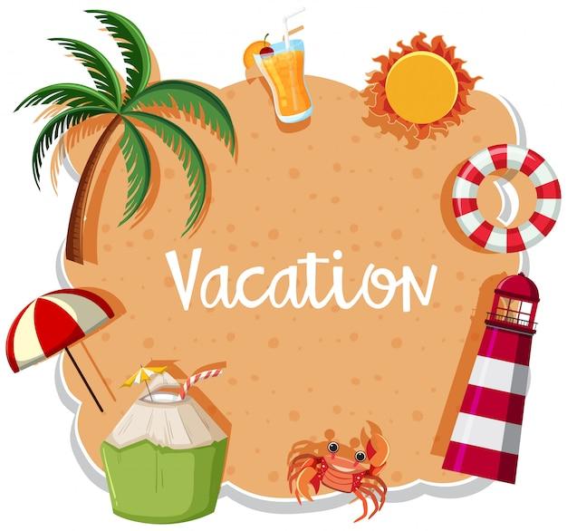 Une bannière de vacances sur fond de sable