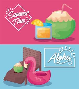Bannière de vacances de l'heure d'été avec cocktails et char flamand