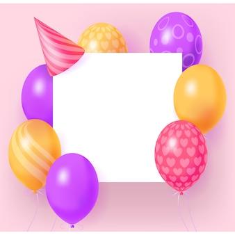 Bannière de vacances joyeux anniversaire avec cadre de feuille blanche, ballons brillants réalistes 3d et chapeau de fête.