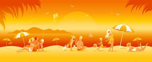 Bannière de vacances à la plage familiale. fond de voyage mer été en style cartoon. illustration amusante des gens. femme heureuse, homme, enfants, enfant avec motif de paysage de plage ensoleillée.