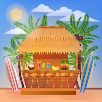 Bannière de vacances tropicales avec bar à la plage et palmiers